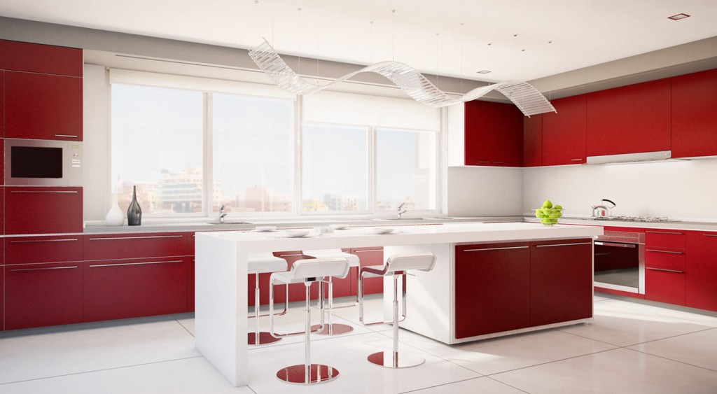 Red and white luxury kitchen