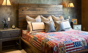 Bed with DIY headboard and bedroom units