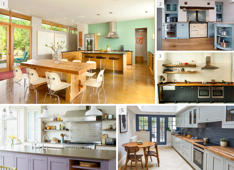 Various kitchens with subway tiles - collage