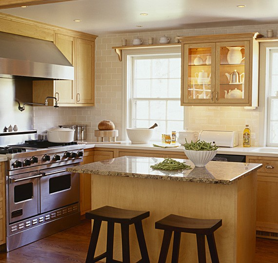 kitchen with subway tiles on wall
