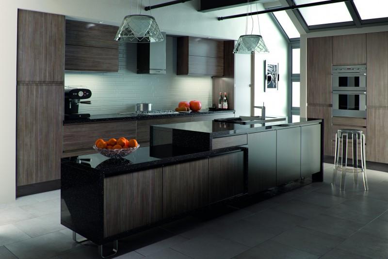 Dark wood handleless kitchen