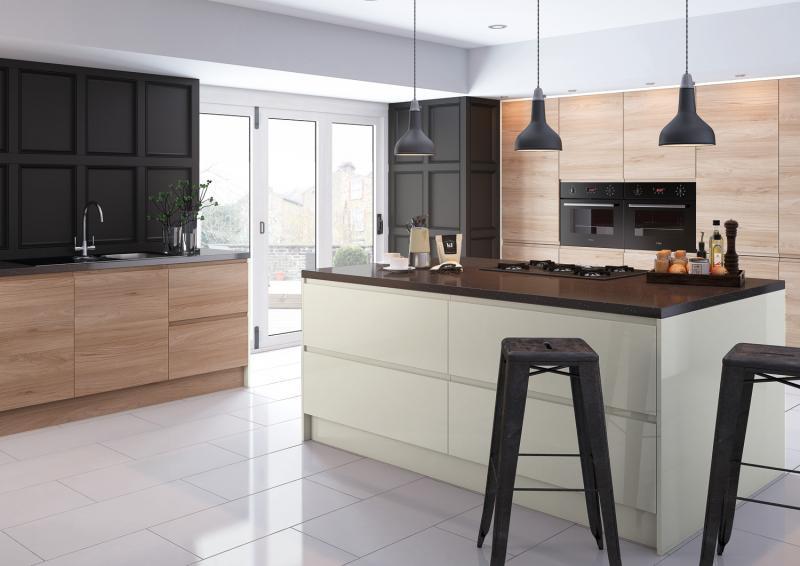 Natural gloss handleless kitchen