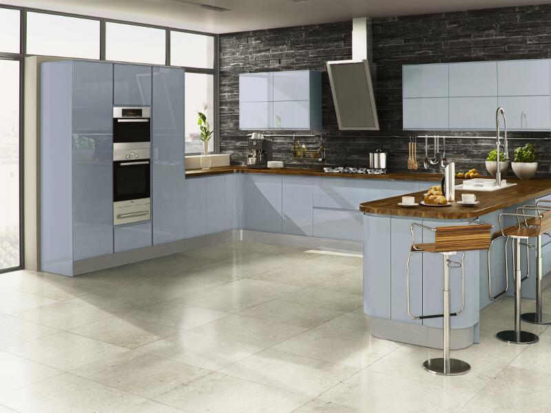 Welford sky blue handleless kitchen