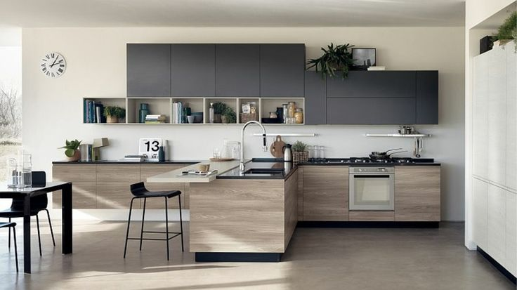 Kitchen with mix and match grey and wooden doors