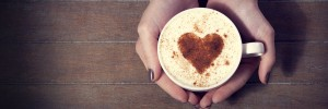 Coffee cup with heart latte art