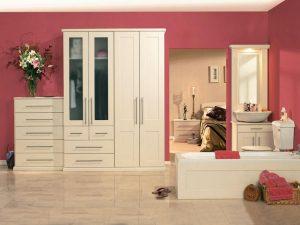 Ivory shaker-style bedroom
