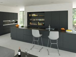 Matt graphite Integra handleless kitchen cabinets