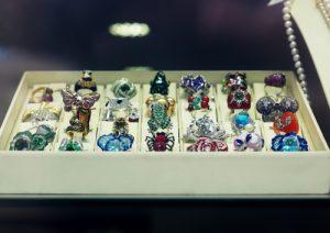 Walk in wardrobe jewellery display