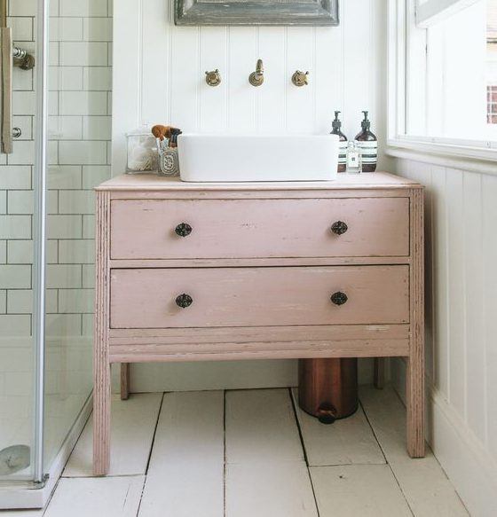Re purposed Bsthroom cabinet