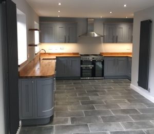 Newly fitted kitchen units and flooring