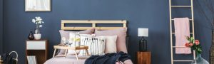Coloured bedroom feature wall