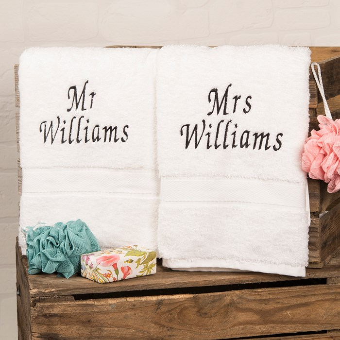 Mr and Mrs personalised bath towels