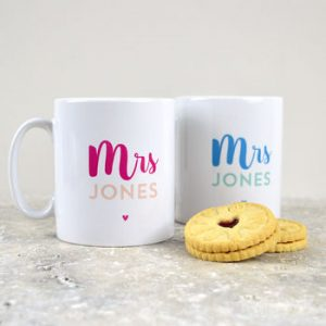Mrs and Mrs personalised mugs